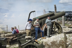 The cannon is fired at the WW1 Western Front trench system at the Great Dorset Steam Fair.