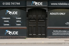 Ride Cycle Shop, Lower Parkstone, Poole. On 1st April 2015, for one day the exterior transformed into 'Rude', an Adults Only sex shop.