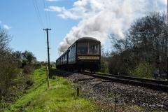 Devon Belle approaching Corfe Castle Railway Station. Swanage Railway - Spring Steam Gala 2017.