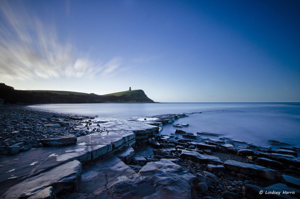 Early morning down on the beach at Kimmeridge, Dorset. Clavell Tower in the background. February 2015.