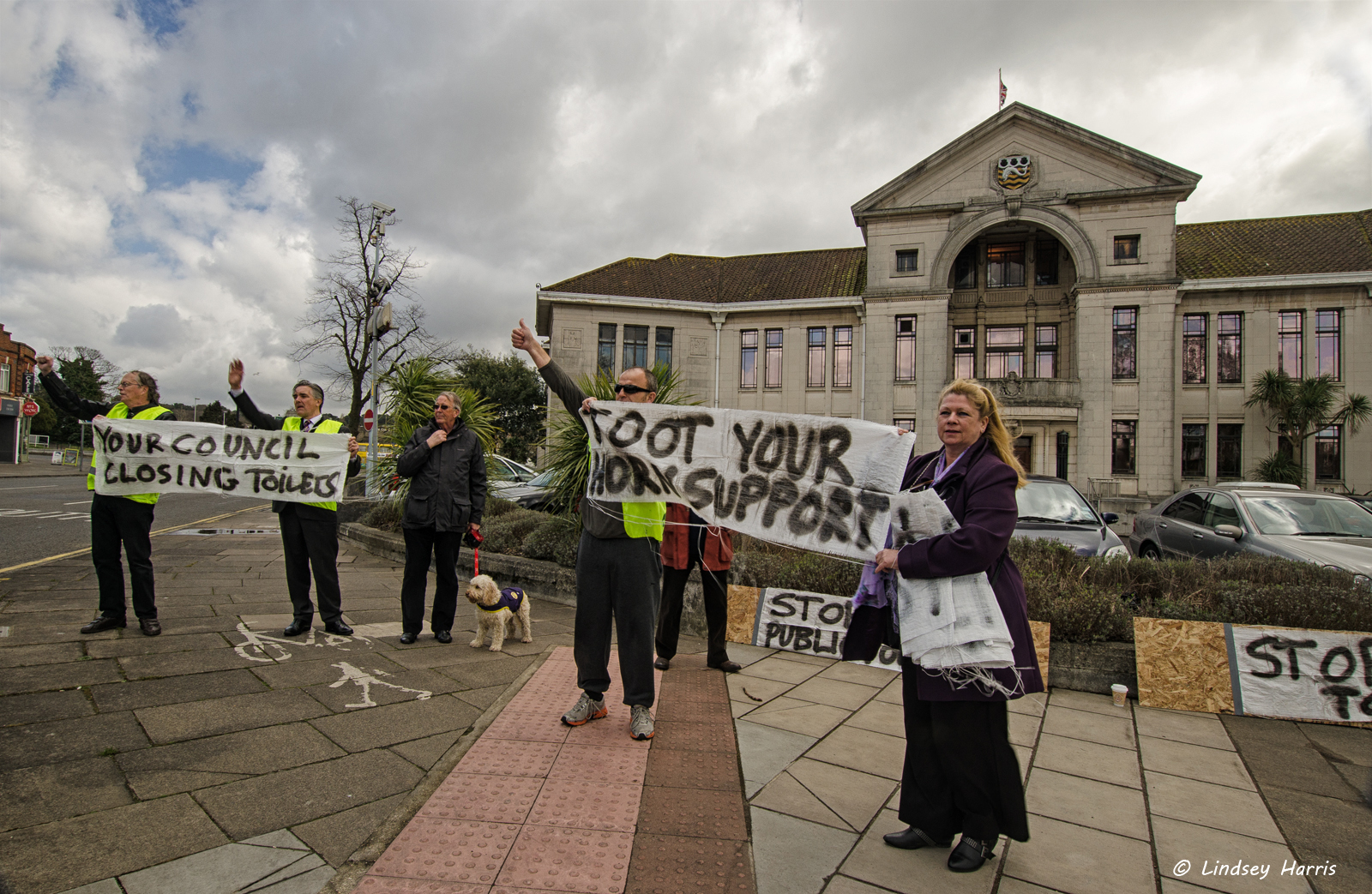 Demonstration against closure of lavatories in Poole.
