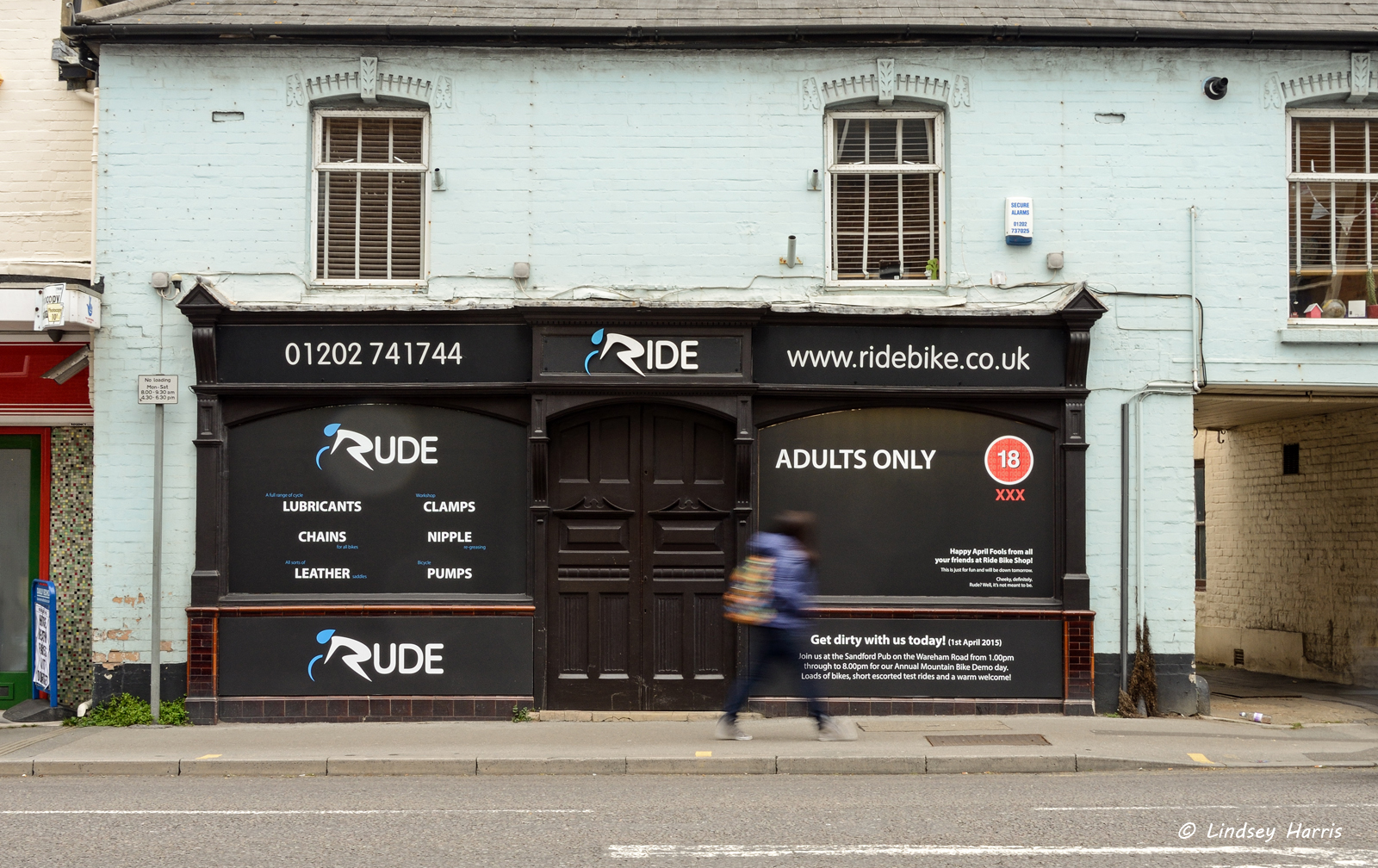 Ride bike shop turns into 'Rude' for April Fool's Day 2015.