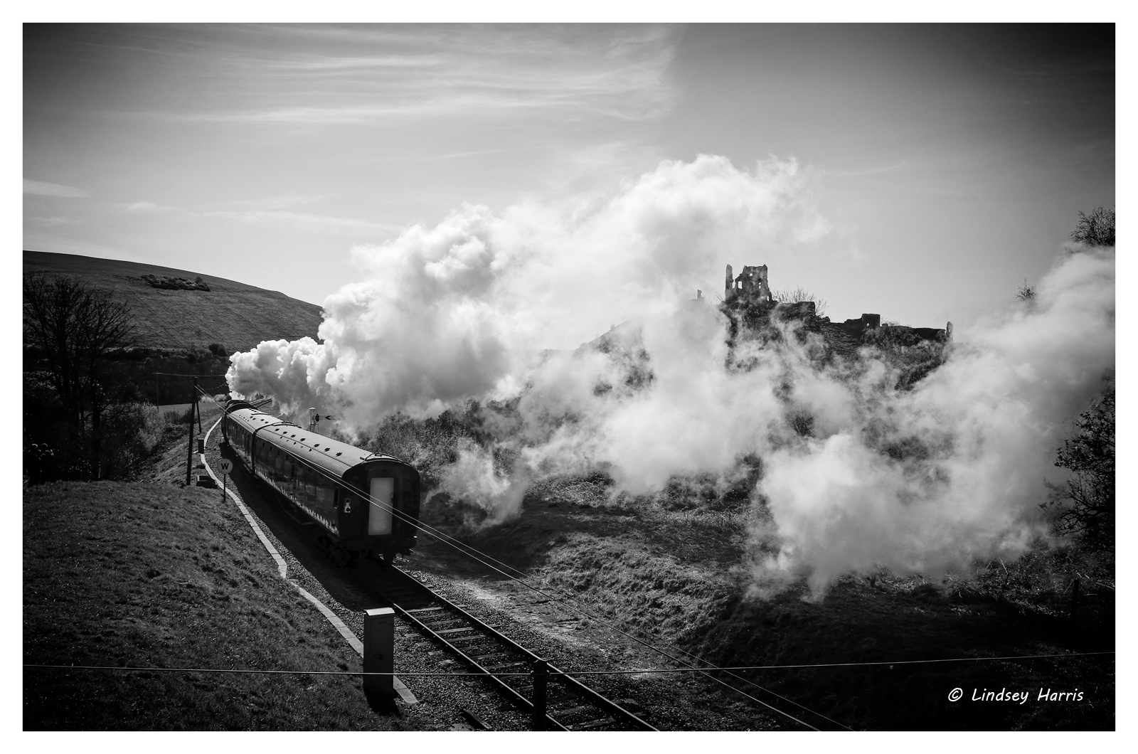 Corfe Castle through the steam