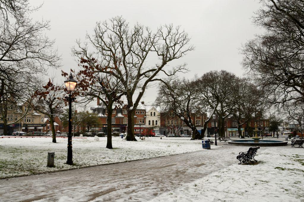 Snow at Parkstone Park, Ashley Cross, Lower Parkstone, Poole, Dorset.