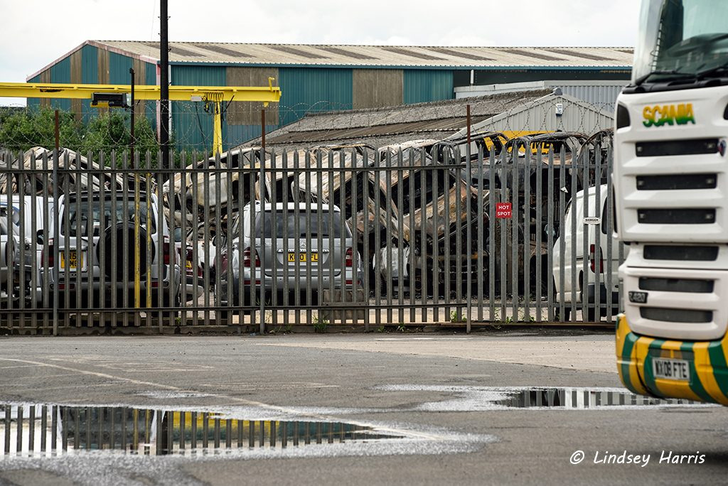 The morning after the fire at Charles Trent scrapyard, Poole, Dorset. 17th June 2016.