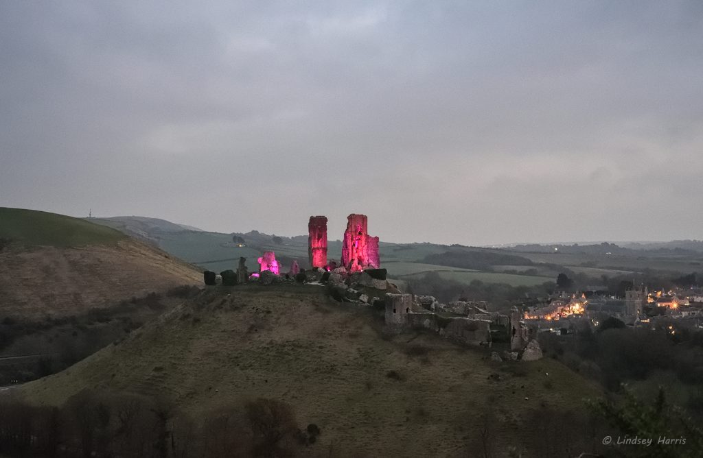 Corfe Castle was lit up in purple (well, more pink actually!) for the Purple Lights for Pancreatic Cancer campaign. Purple Corfe Castle.