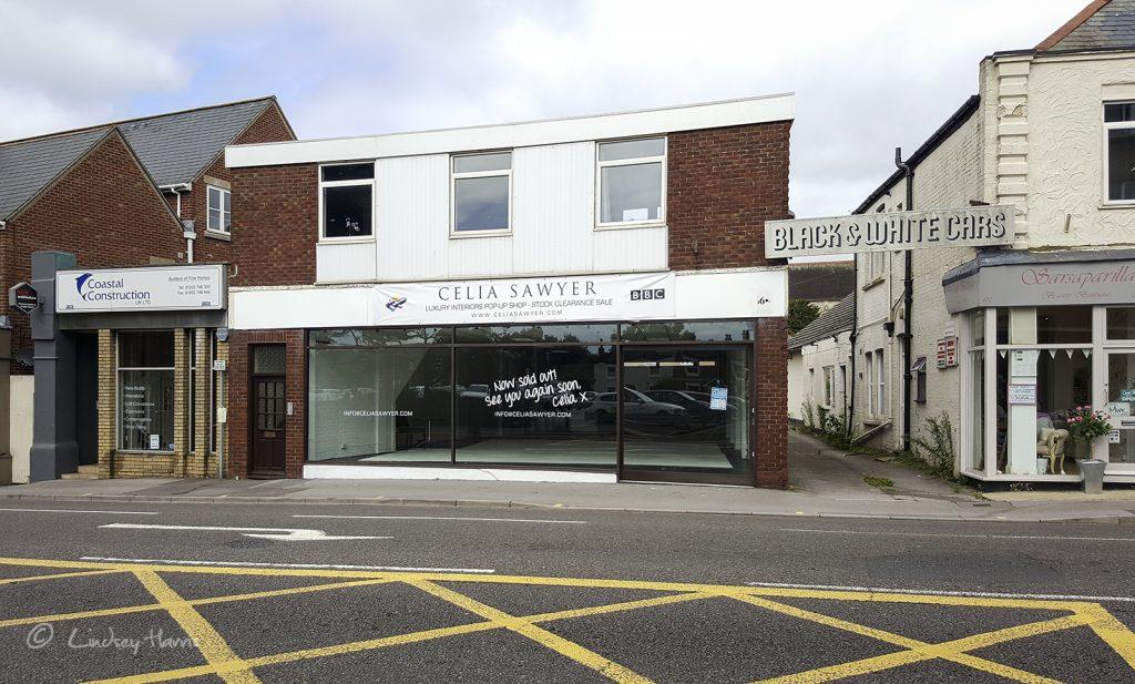 Celia Sawyer 'pop up shop', Lower Parkstone, Poole. Photo taken August 2016.