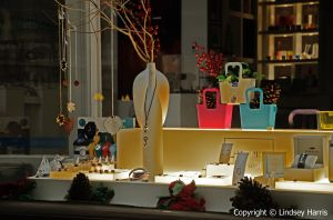 Night time window display at Harris Interiors