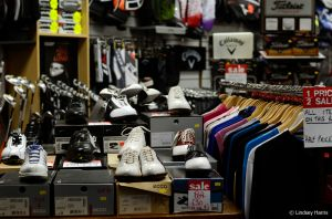 Interior of the golfing shop