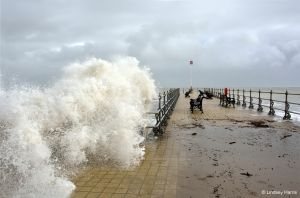 High tide at Shore Road (The Esplanade) at Swanage, Dorset