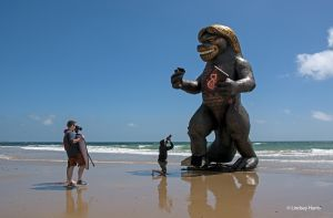 'Bransonzilla' on the beach at Bournemouth, Dorset.
