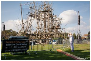 Getting ready for cirkVOST's 'BoO' Trapeze Show - at Poole Park, Poole, Dorset, UK