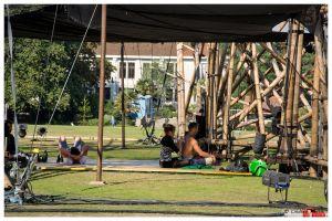 Artistes preparing for cirkVOST's 'BoO' Trapeze Show - at Poole Park, Poole, Dorset, UK