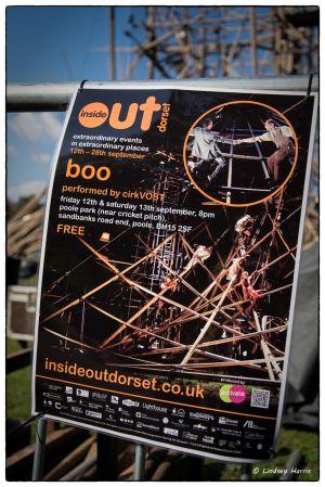 Poster advertising cirkVOST's 'BoO' Trapeze Show, Poole Park, Poole, Dorset, UK