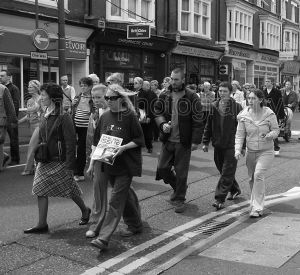 The Big Issue - remembrance parade for Ralph Millward (Big Issue seller), Westbourne, Dorset