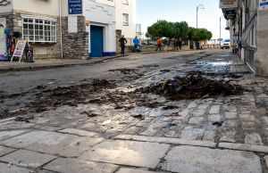 Seaweed in Swanage High Street after Storm Angus