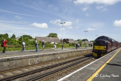 First train from Swanage to Wareham in 45 years arrives at Wareham Station.