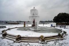 Snow covered fountain, Poole Park, Poole, Dorset.