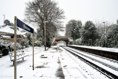 Snow at Parkstone Railway Station, Lower Parkstone, Poole, Dorset.