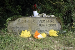 Memorial stone for Michael Oliver MBE (Steam Fair founder) at the Great Dorset Steam Fair 2017.