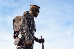'The Haunting'. A 20ft scrap metal soldier at the Great Dorset Steam Fair 2018, created by the artist Martin Galbavy as a tribute to troops who fought in the First World War.