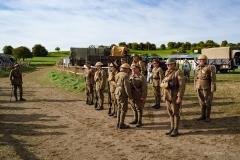 WW1 soldiers at the Great Dorset Steam Fair 2018. Early morning uniform inspection.