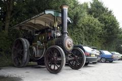 Steam engine at Drusilla's Inn, Horton, Dorset. En route to the Great Dorset Steam Fair (aka The National Heritage Show) at Tarrant Hinton, Dorset.
