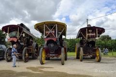Showmen's engines at Drusilla's Inn. En route to the Great Dorset Steam Fair (aka The National Heritage Show) at Tarrant Hinton, Dorset.