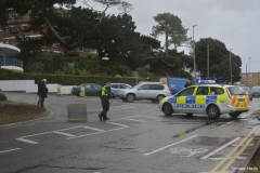 Police close Shore Road at Sandbanks, due to flooding from Poole harbour.