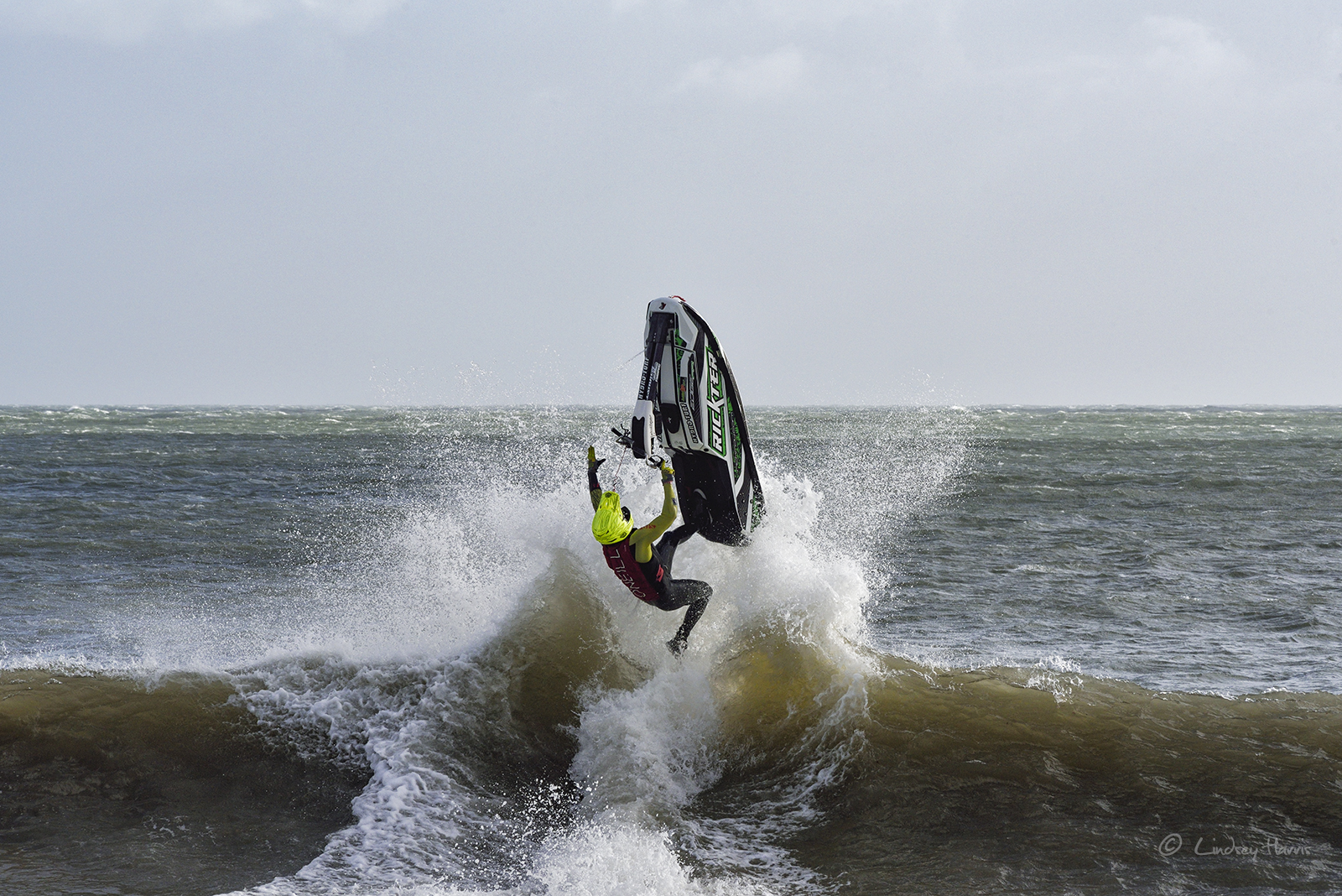 Jet Ski at Swanage during Storm Brian, October 21st 2017.