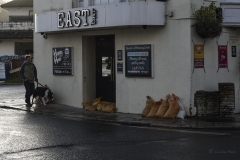 Sandbags in Swanage High Street.