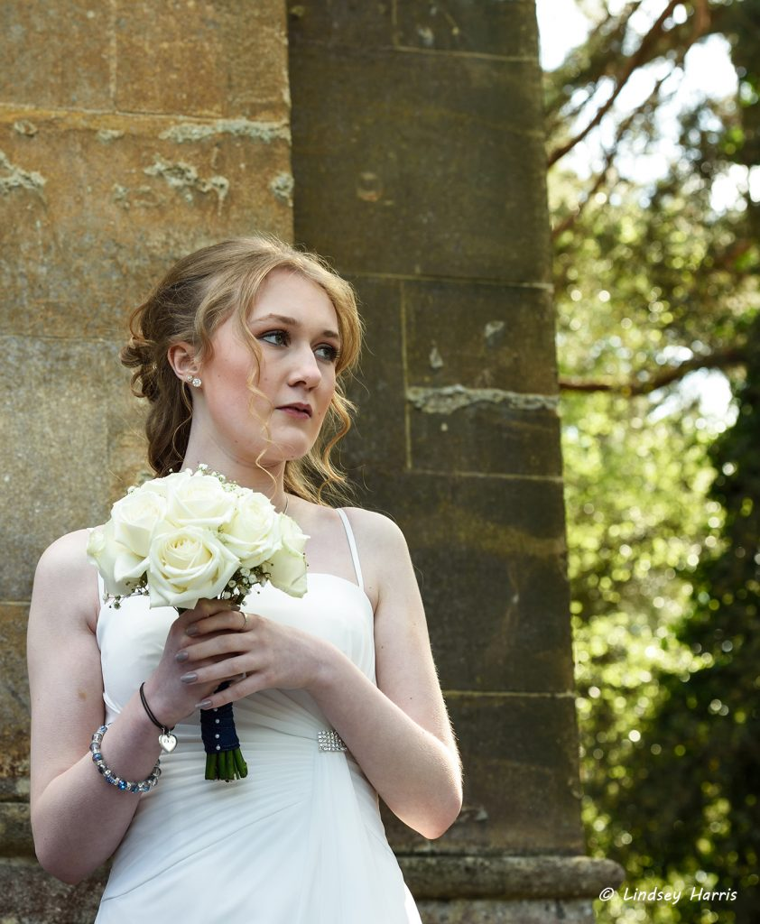 Wedding photograph of bridesmaid. Taken at Westbourne, Bournemouth, Dorset.