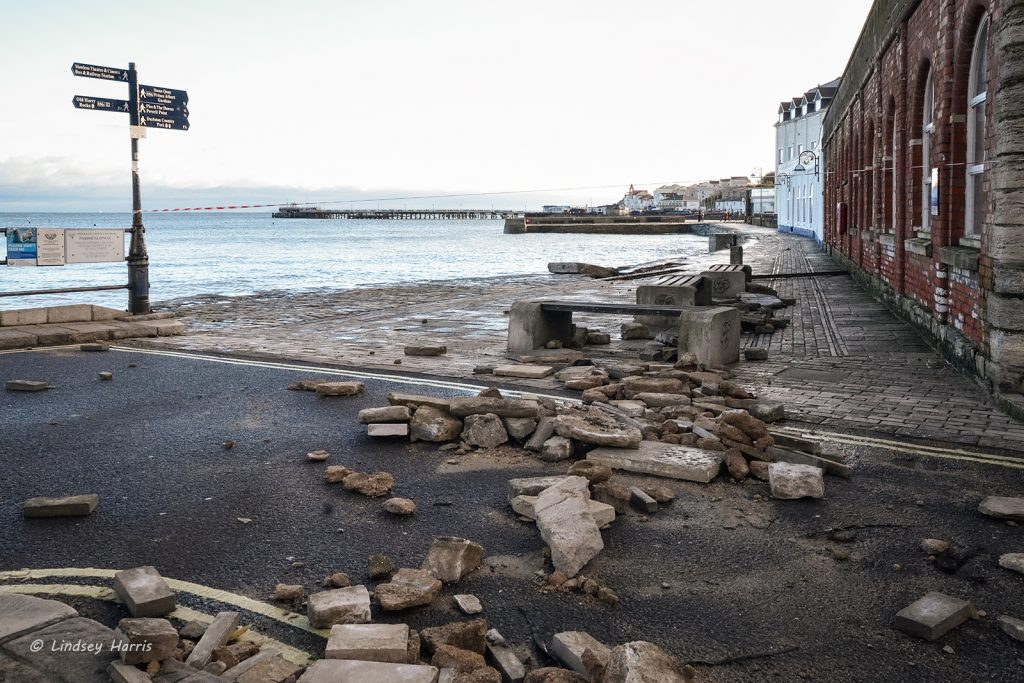 Damage to Sea wall Swanage, Dorset. Storm Angus, 20th November 2016. Swanage storms November 2016.
