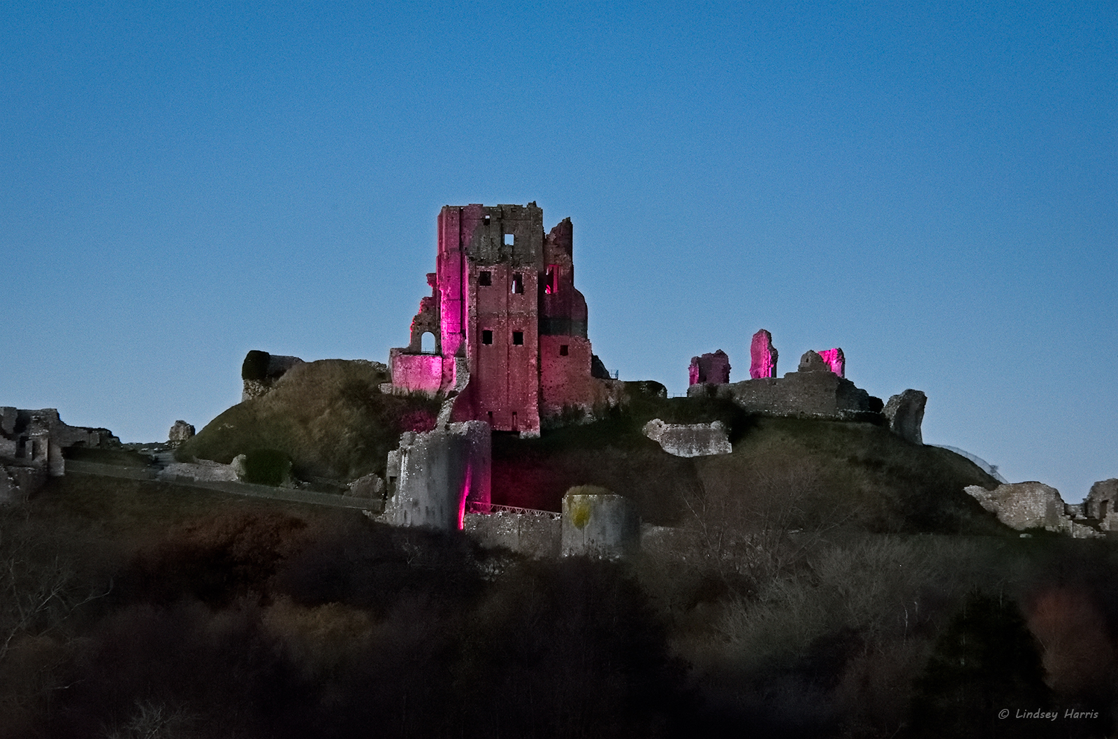 Corfe Castle Purple for 'Purple Lights for Pancreatic Cancer Campaign'