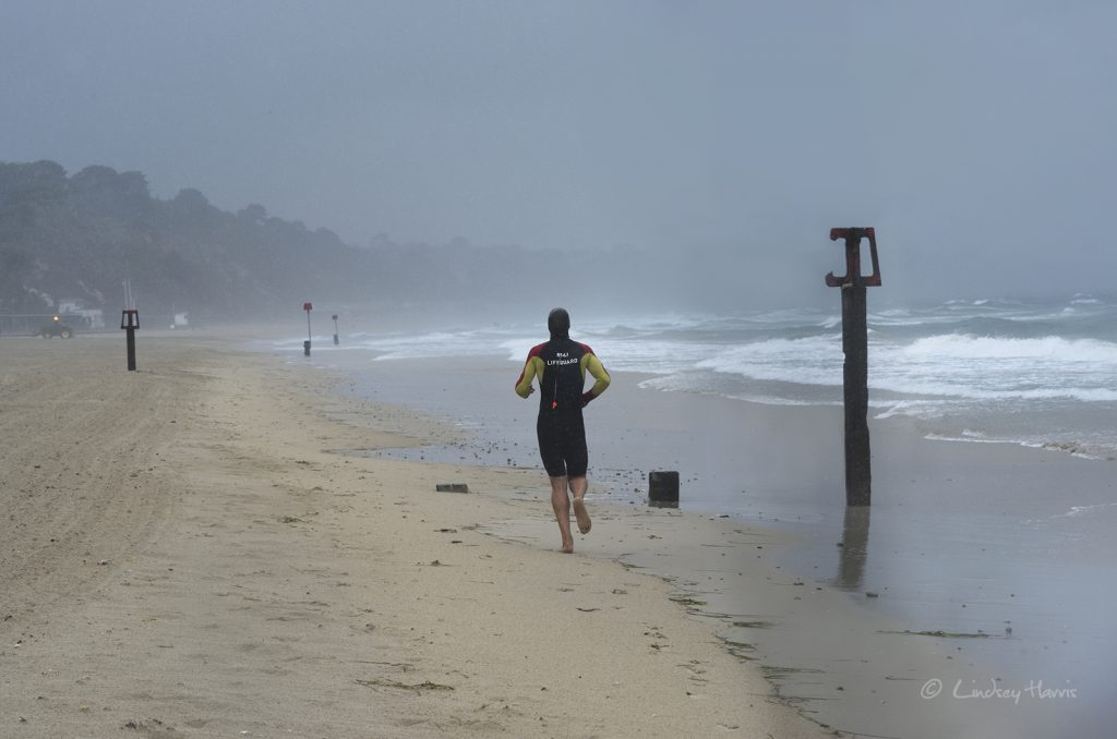 Lifeguard in stormy weather, Storms at Sandbanks, Poole - 2nd August 2017