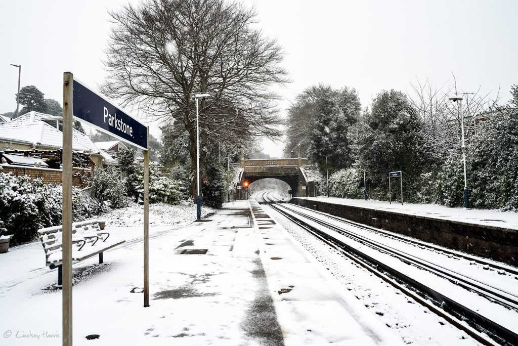 Snow at Parkstone Station, Lower Parkstone, Poole, Dorset. March 2018.