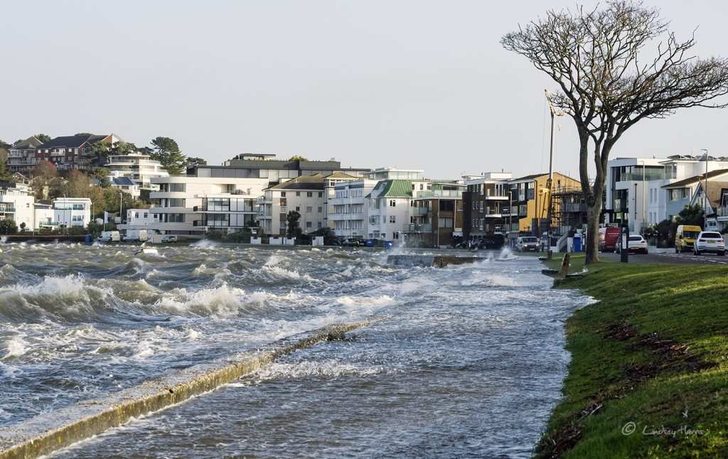 Storm Eleanor at Banks Road, Sandbanks, Poole, Dorset. January 2018.