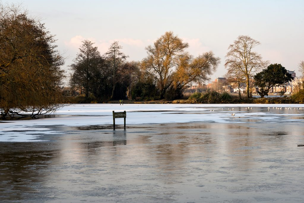 Poole Park in the snow and ice - February 2018.