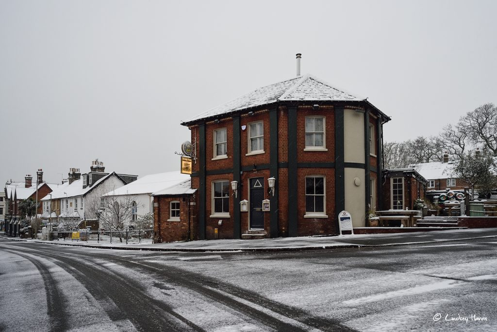 The BT pub in the snow, Ashley Cross, Poole.
