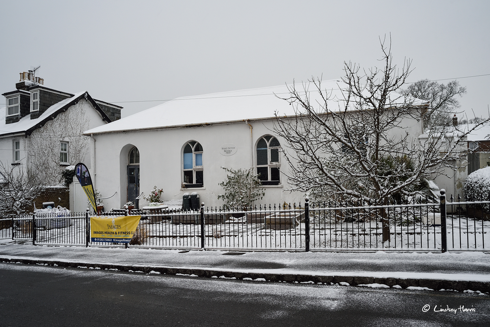 Snow on the old St. Peter's School building, Parr Street, Ashley Cross, Poole, Dorset.