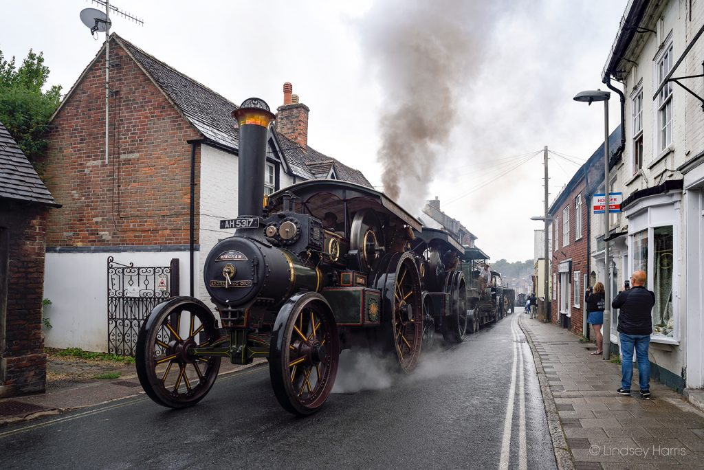Traction engines from the WW1 Homecoming Parade at Salisbury Street, Blandford Forum. Steam engines and WW1 military vehicles en route to the site of the 2018 Great Dorset Steam Fair. (GDSF)