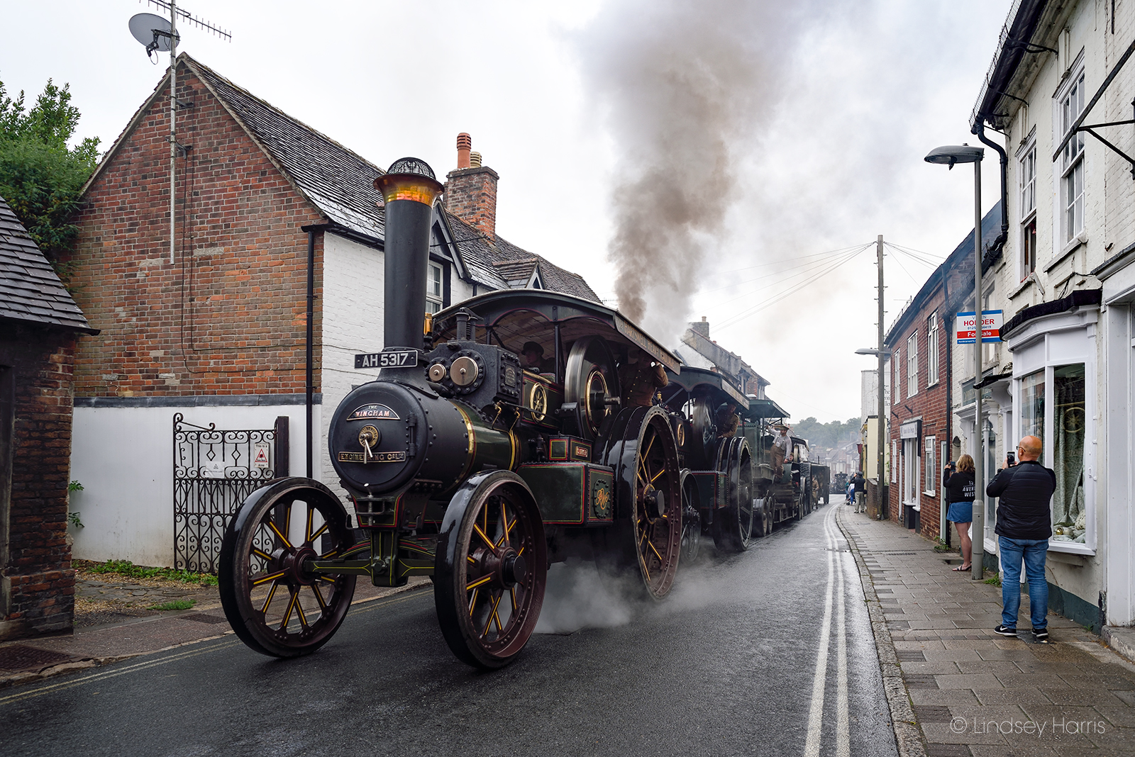 Traction engines from the WW1 Homecoming Parade at Salisbury Street, Blandford Forum, Dorset. Steam engines and WW1 military vehicles en route to the site of the 2018 Great Dorset Steam Fair.