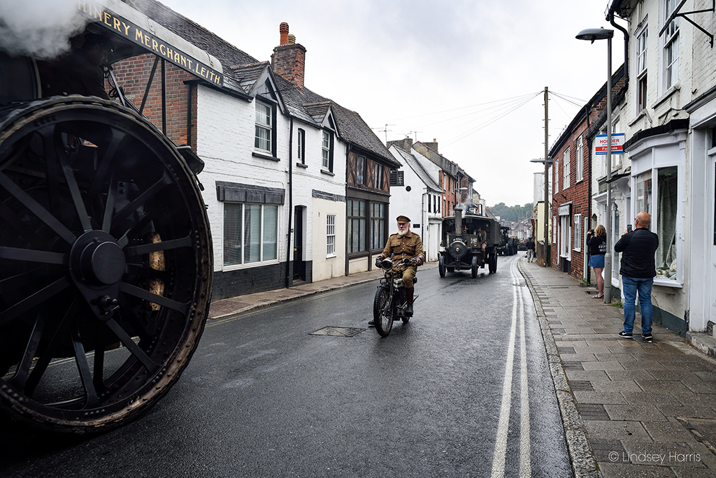 The WW1 Homecoming Parade drives through Blandford Forum, Dorset.