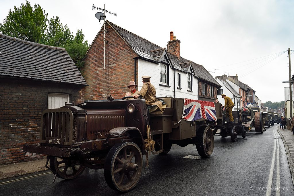 Vehicles from the WW1 Homecoming Parade at Blandford Forum, Dorset.