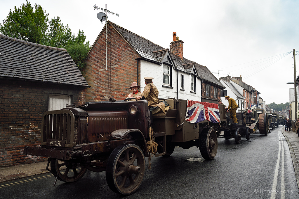 Vehicles from the WW1 Homecoming Parade in Salisbury Street, Blandford Forum, Dorset.