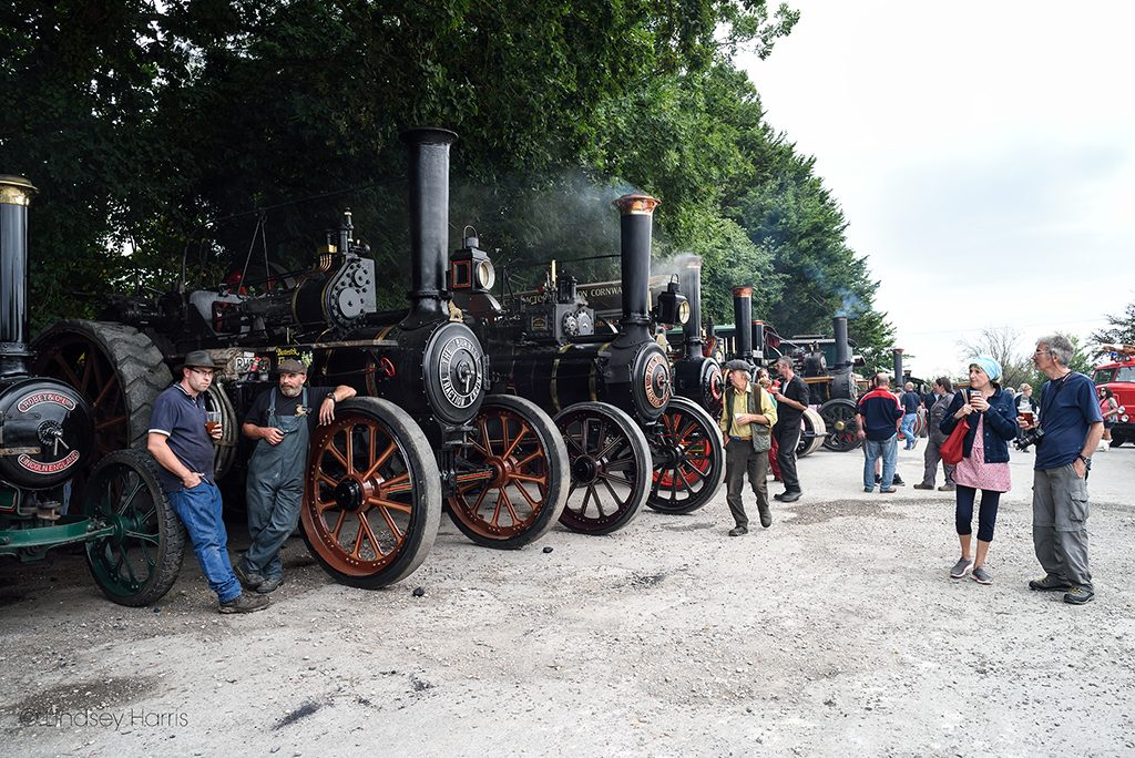 Steam engines and traction engines at Drusilla's Inn Steam Up 2018, Horton, Dorset.