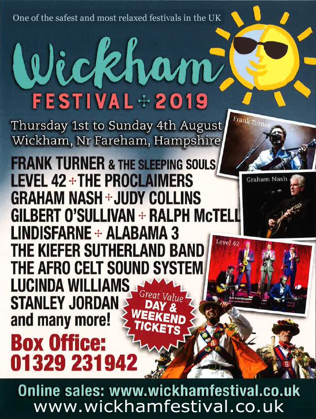 Flyer for Wickham Festival 2019.