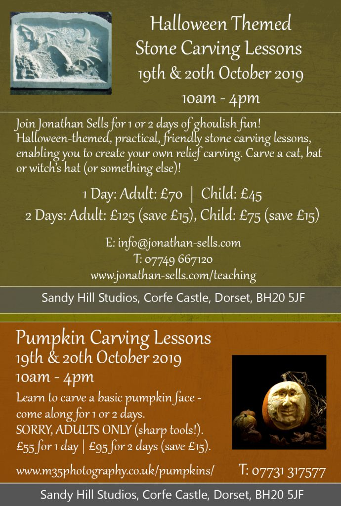 Pumpkin carving lessons, Dorset, for Halloween 2019.