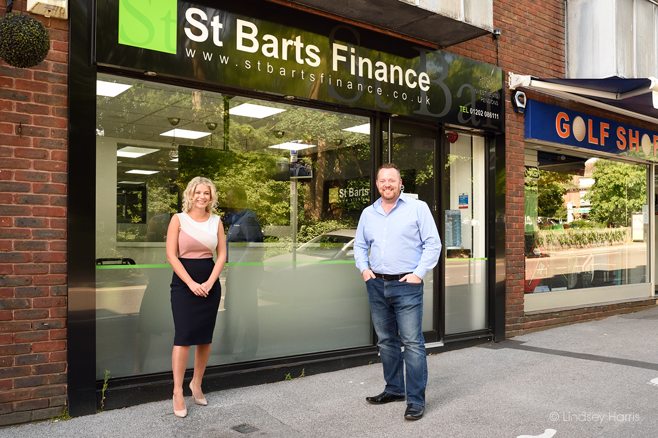 Photo of Chantelle Dean and Managing Director Steve Bartholomew, St Bart's Finance, Lower Parkstone.
