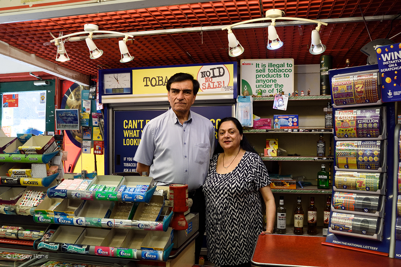 Lower Parkstone Photographic Project: Ashok and Anita Shukla, Spar, Lower Parkstone. Photo taken September 13th 2020, just before they retired.